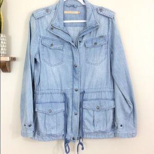 Max Studio Chambray Utility Anorak Jacket Jeans